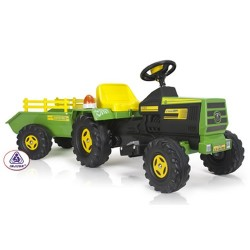 njusa Kids Electric Tractor and Trailer with Lights and Sounds - 6v