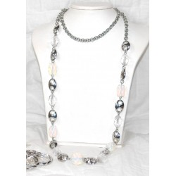 Long Beaded Silver and Bead Necklace with Matching Earrings