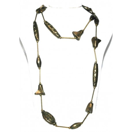 Brass Chunky Long Necklace