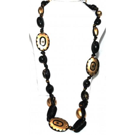 Wooden Necklace Painted Black and Gold