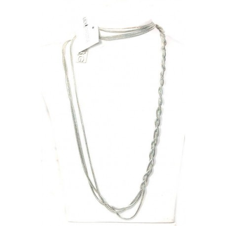 Long Layered Pewter Necklace