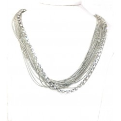Layered Pewter Necklace with Diamante Srand