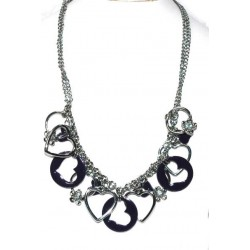 Silver Plated Necklace with Purple Heards