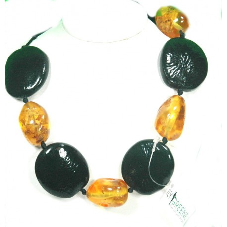 Chunky Amber and Black Resin Necklace
