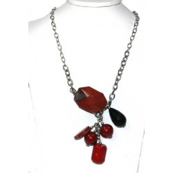 Semi Precious Necklace with Nice Red Coral and Black Onyx