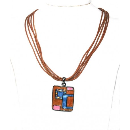 Brown Rope Necklace with Colurful Pendant