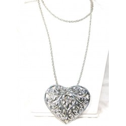 Long Silver Plated Necklace with large Heart Pendant