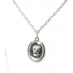 Silver Plated Necklace with Cameo Pendant