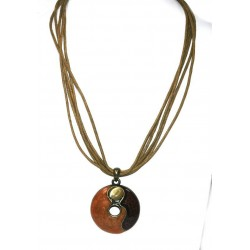 Brown Rope Necklace with Brown Circular Gloss Finish Pendant